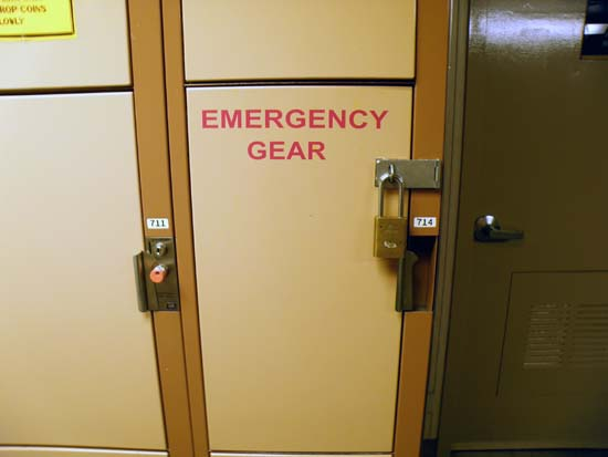 Emergency gear locker.