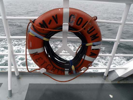 M/V Columbia orange life ring