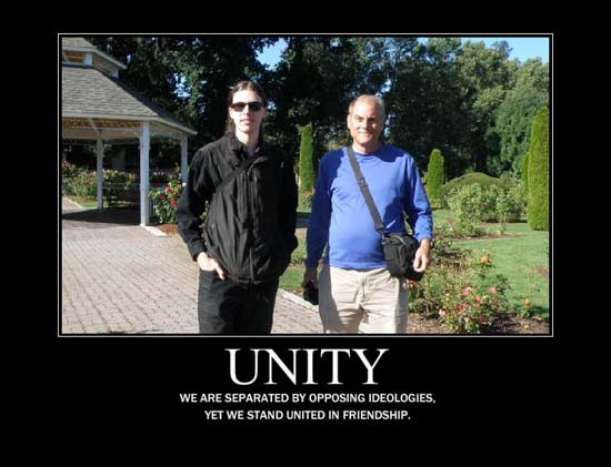 Unity / We are separated by opposing ideologies, yet we stand united in friendship.