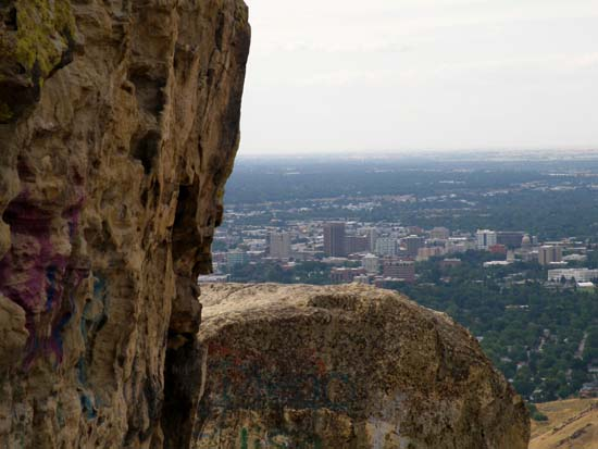 Cliff, with Boise beyond.