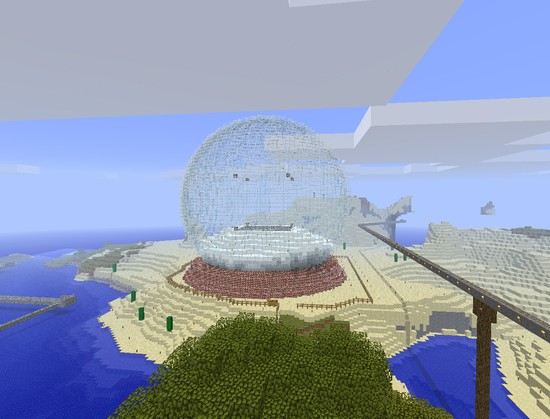 Giant snow globe built in Minecraft