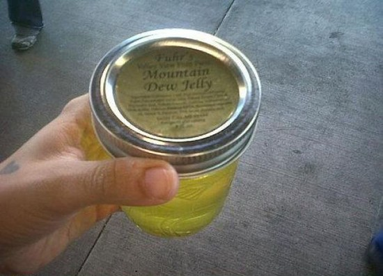 A jar of Mountain Dew jelly