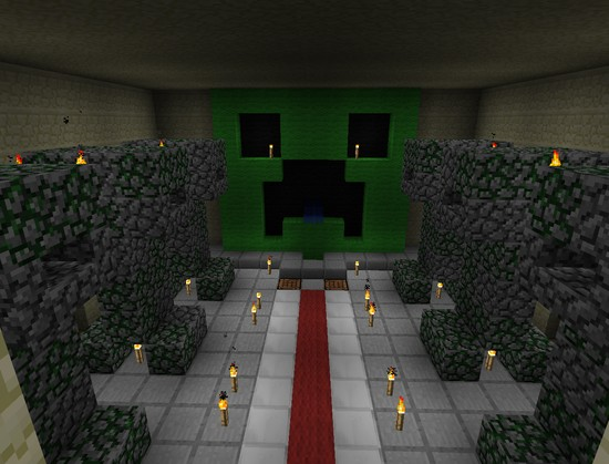 Creeper themed mob grinder collection room
