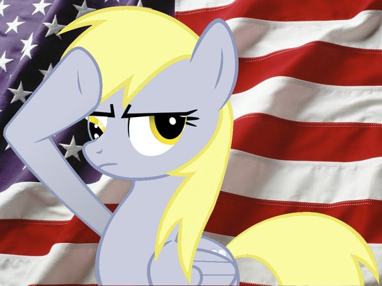 Derpy Hooves salutes flag